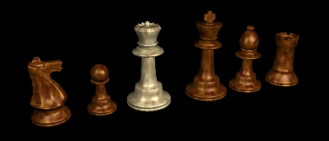 Computer-rendered marble chess pieces